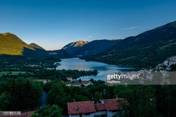 Glimpse of Lake of Barrea at dawn in Barrea in Abruzzo on July 27, 2020. Several Italians, especially from southern Italy, have chosen for their...