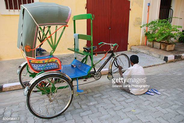 glimpse of life in pondicherry - rickshaw stock photos and pictures