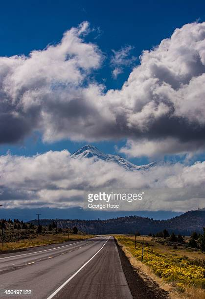 A glimpse of Mt Shasta is viewed through the clouds along Highway 97 on September 27 in Weed California With 2013 the driest year in recorded history...
