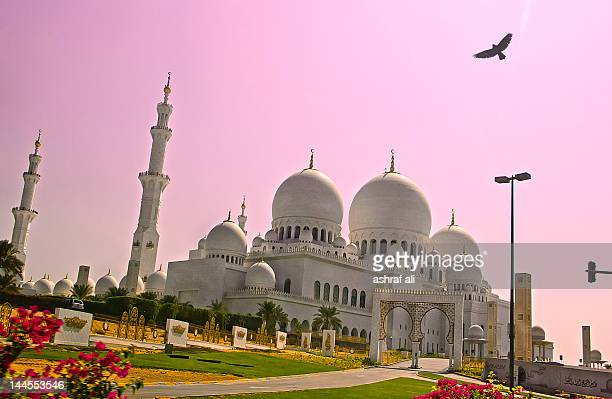 glimpse of sheikh zayed grand mosque - grand mosque stock pictures, royalty-free photos & images