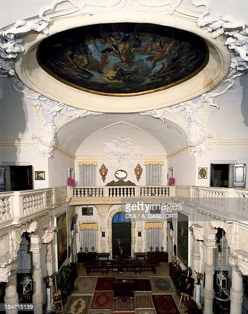 Glimpse of the atrium of the Villa-Rezzonico Borella, 1700-1706, project Baldassare Longhena , Bassano del Grappa, Veneto. Italy, 18th century.