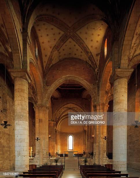 Glimpse of the central aisle Church of San Lorenzo Trento TrentinoAlto Adige Italy 12th century