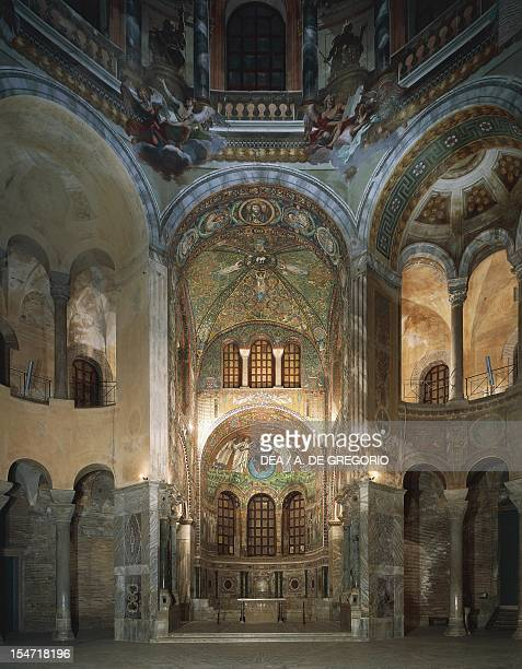 Glimpse of the central hall presbytery and apse Basilica of San Vitale Ravenna EmiliaRomagna Italy 6th century