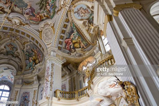 Glimpse of the central hall with frescoes by Domenico and Giuseppe Valeriani Hunting residence by Filippo Juvarra Stupinigi Piedmont Italy 18th...