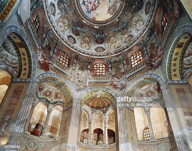 Glimpse of the frescoed dome Basilica of San Vitale Ravenna EmiliaRomagna Italy VI18th century