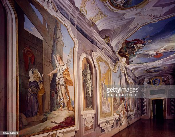 Glimpse of the Guest Gallery frescoed by Giovanni Battista Tiepolo Patriarchal Palace and Archbishop's Palace Udine FriuliVenezia Giulia Italy 18th...