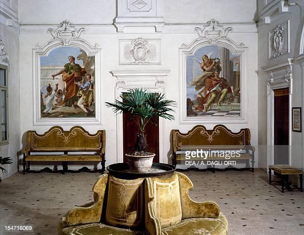 Glimpse of the living room with frescoes by Giovanni Battista Tiepolo VillaLoschi Zileri Biron Monteviale Veneto Italy 18th century