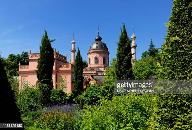 Glimpse of the mosque garden of Schwetzingen Castle BadenWurttemberg Germany