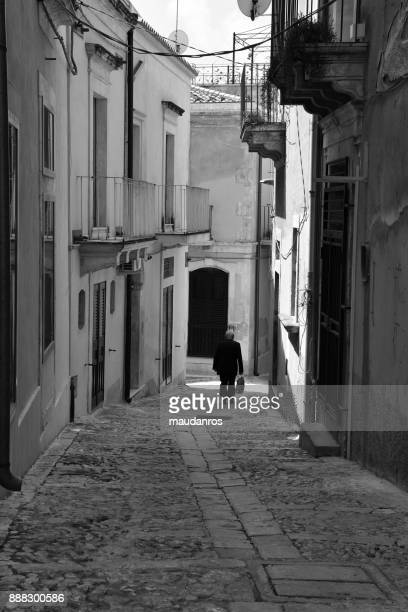 Glimpse of the old town center Noto Siracusa