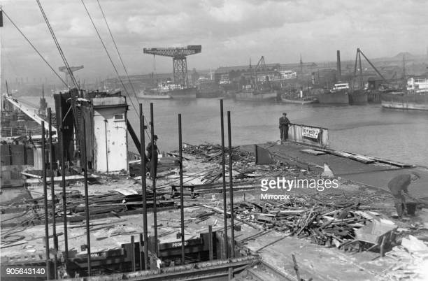 A glimpse of the River Tyne from the decks of the RMS Olympic which is rapidly being broken up at Messers Thomas W Ward Ltd in Jarrow 23rd April 1936