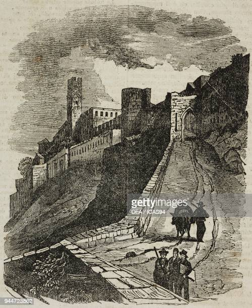 A glimpse of the walls of Carcassonne France illustration from Teatro universale Raccolta enciclopedica e scenografica No 195 March 31 1838