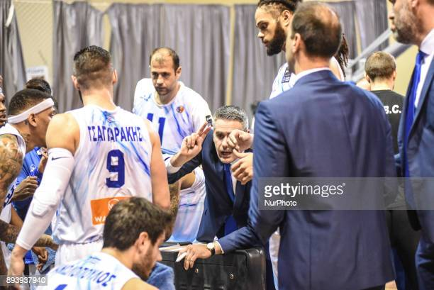 A glimpse to the coaching zone of Kymi during a timeout during Championship Basket League match between GSKymis and Aris BC at Kanithou...