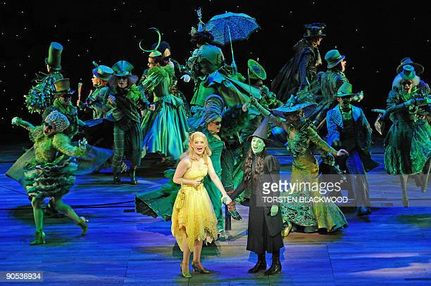 Glinda played by Lucy Durack and Elphaba played by Amanda Harrison perform in the highly acclaimed Broadway musical 'Wicked' during the preview in...