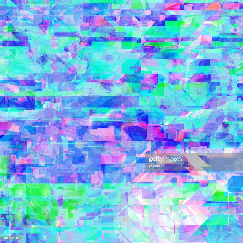 Glitch background, digital image data distortion, colorful pattern : Stock Photo