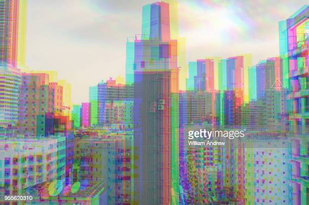 glitch digital city, hong kong - digital composite stock-fotos und bilder