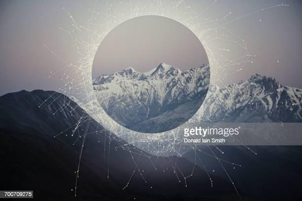 Glitch effect in mountains, Jomsom, Nepal