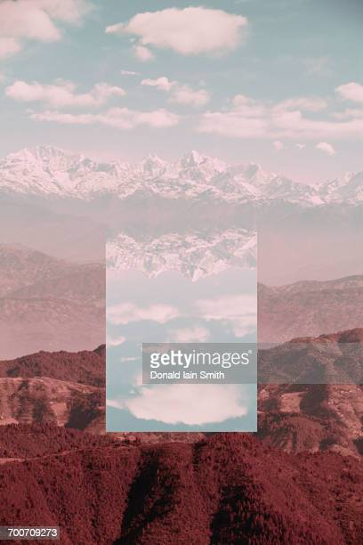 Glitch effect in mountains, Kathmandu Valley, Kathmandu, Nepal