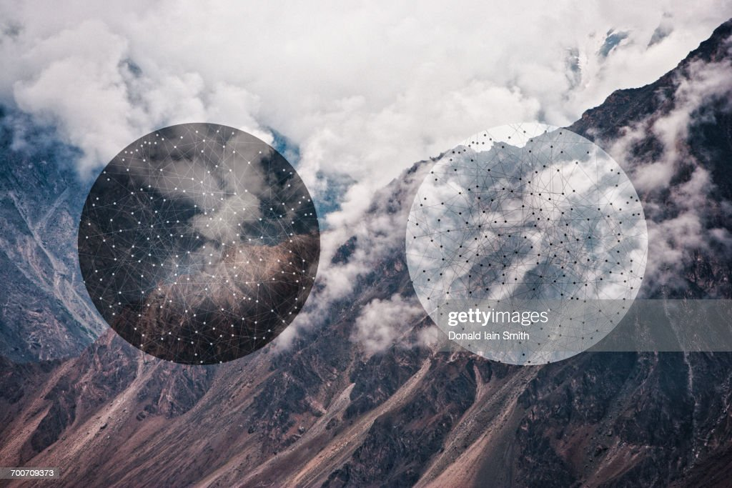 Glitch effect of spheres and mountains, Hunza, Northern Areas, Pakistan : Stock Photo