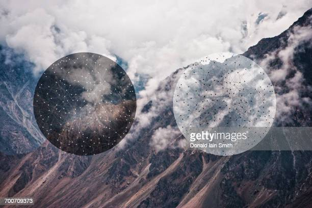 glitch effect of spheres and mountains, hunza, northern areas, pakistan - glitch technique stock photos and pictures