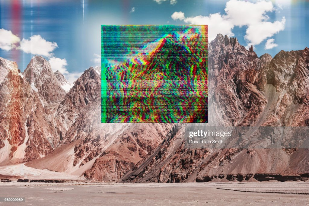 Glitch effect on mountain landscape : Stock Photo