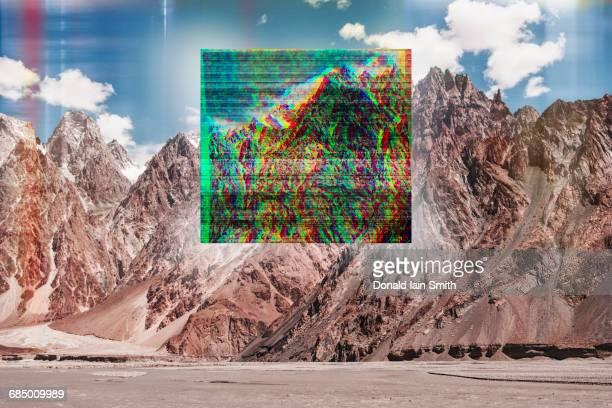 Glitch effect on mountain landscape