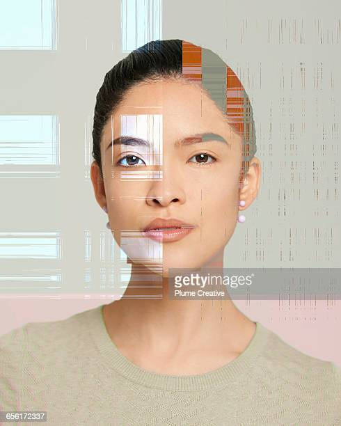 Glitchy portrait of woman