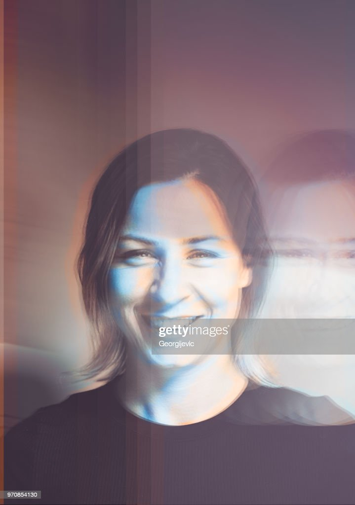 Glitchy portrait : Stock Photo