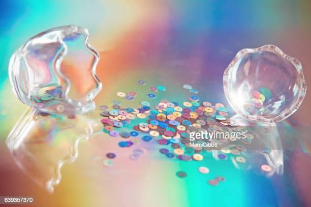Glitter on the hologram paper.