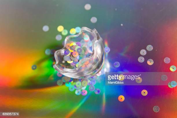 Glitter on the hologram paper