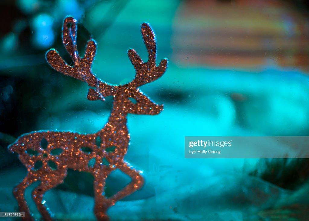 Glitter reindeer Christmas decoration : Stock Photo