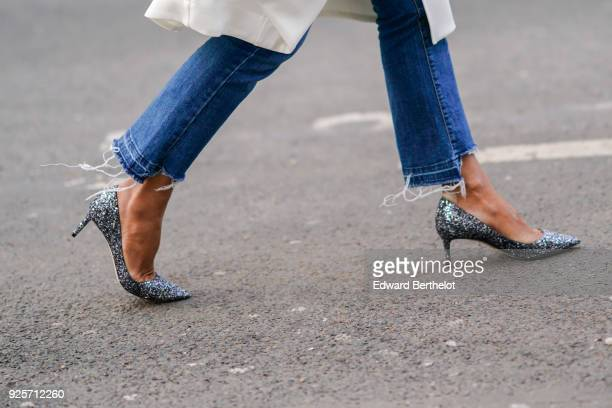 Glitter shoes during Paris Fashion Week Womenswear Fall/Winter 2018/2019 on February 28 2018 in Paris France