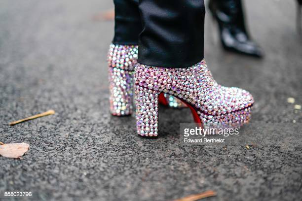 Glitter shoes outside John Galliano during Paris Fashion Week Womenswear Spring/Summer 2018 on October 1 2017 in Paris France