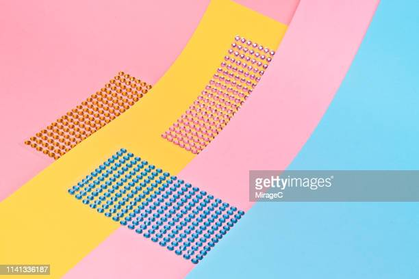 Glitter Stickers on Pink Blue and Yellow