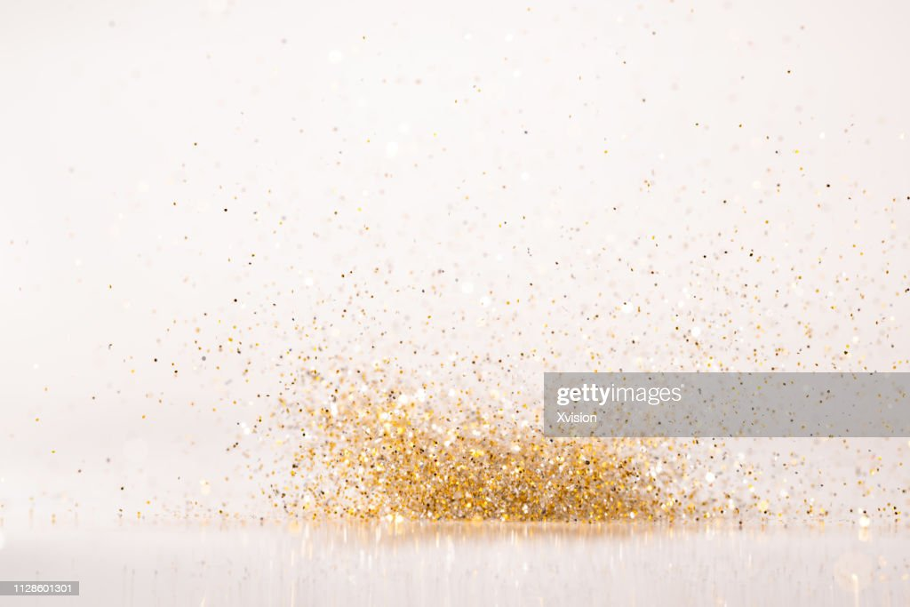 glittering golden and silver colorful shinny decoration background : Stock Photo