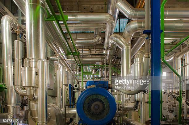 Glittering steam tubes inside a power station