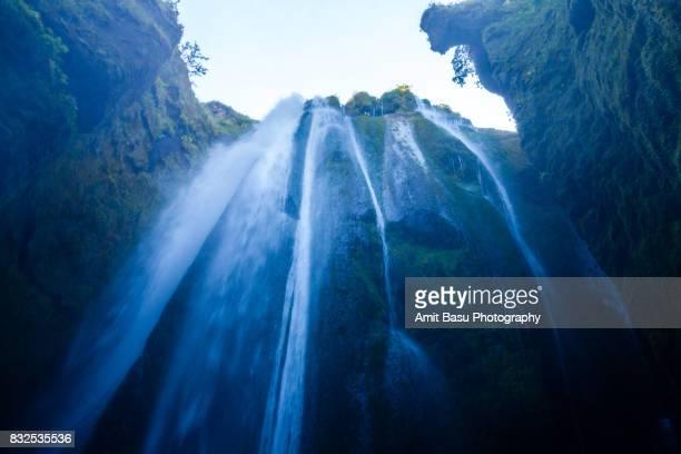 Gljúfrabúi Waterfall in a cave near Seljalandsfoss, Iceland