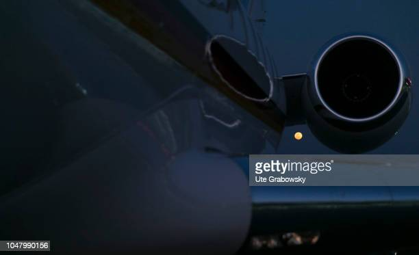 Global 5000 aircraft of the Air Force on the airfield in Beira on August 26 2018 in Beira Mozambique Shot of a turbine in the night at full moon