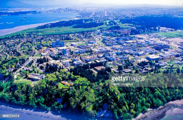 global aerial view of the university of british columbia, buildings and campus - ubc stock pictures, royalty-free photos & images