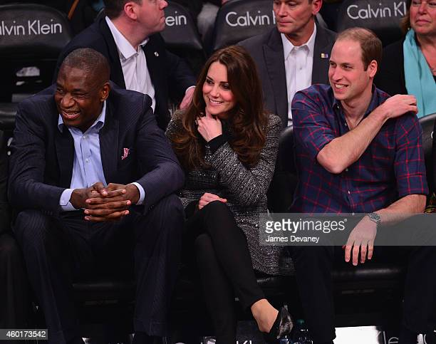 Global Ambassador Dikembe Mutombo Prince William Duke of Cambridge and Catherine Duchess of Cambridge attend the Cleveland Cavaliers vs Brooklyn Nets...