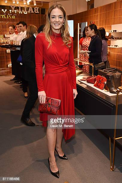 Global Ambassador Katharina Harf posing with the Bally for DKMS Clutch attends the cocktail reception at the Bally New Bond Street store in support...