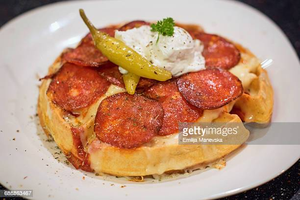 global breakfast - chicken and waffles stock photos and pictures