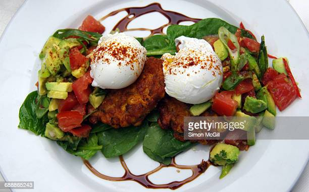 global breakfast - fritter stock photos and pictures