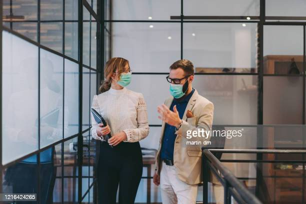 global business and covid-19 concept - pollution mask stock pictures, royalty-free photos & images