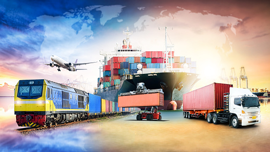 Global business logistics import export background and container cargo freight ship transport concept 1124533201