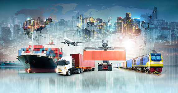 Global business logistics import export background and container cargo freight ship transport concept 1125367903