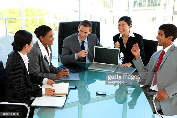 Global business meeting in board room