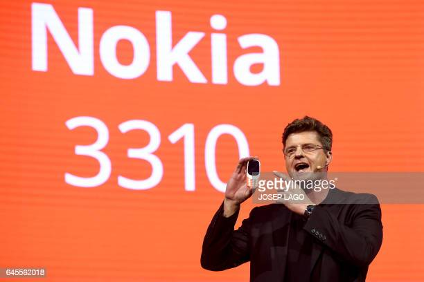 HMD global CEO Arto Nummela presents his company's new phone 'Nokia 3310' during a press conference on February 26 2017 on the eve of the start of...