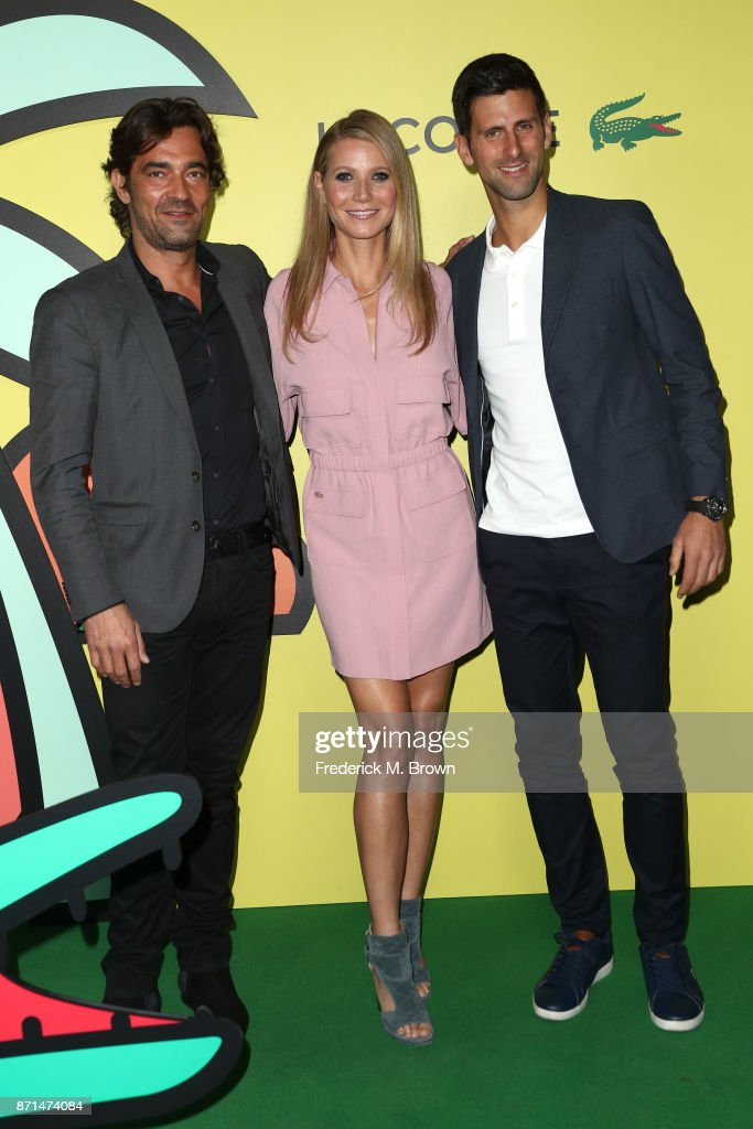 Global CEO Thierry Guibert (R), Gwyneth Paltrow and Novak Djokovic attend the celebration of the re-opening of the LACOSTE Rodeo Drive Boutique at Sheats Goldstein Residence on November 7, 2017 in Los Angeles, California.