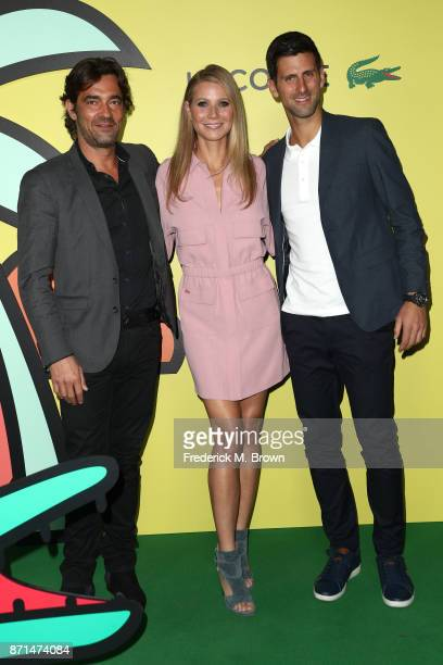 Global CEO Thierry Guibert Gwyneth Paltrow and Novak Djokovic attend the celebration of the reopening of the LACOSTE Rodeo Drive Boutique at Sheats...