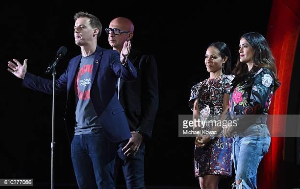 Global Citizen CEO Hugh Evans Gucci CEO Marco Bizzarri actress Jada Pinkett Smith and Salma Hayek present onstage at the 2016 Global Citizen Festival...